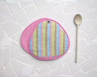 pastel striped potholders - cottage kitchen - green, pink, light blue and red - hostess gift - housewarming - pastel colors - SALE