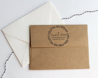 Custom Wreath Address Stamp - Wedding Gift