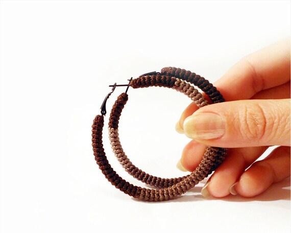chocolate brown hoop earrings, crochet  tube hoops, geometric earrings, minimalist jewelry