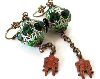 Very unusual earrings robot jewelry unique earrings strange unique jewelry robot earrings unusual jewelry odd jewelry