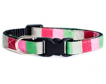 "Cat Collar - ""The Event Planner"" - Red, Gray, Pink and Green Stripes"