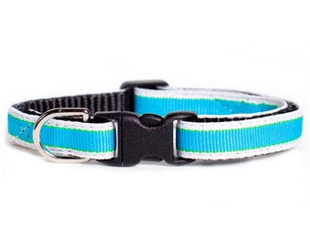 "Cat Collar - ""The Big Blue Boo"" - Blue/White Stripe"