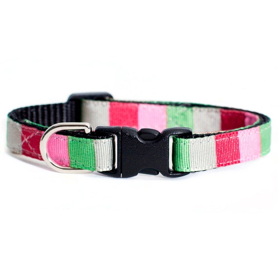"""Cat Collar - """"The Event Planner"""" - Red, Gray, Pink and Green Stripes"""