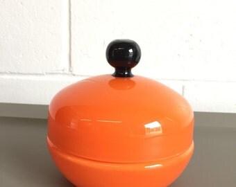 Vintage Bright Orange Czechoslovakia Glass Dish