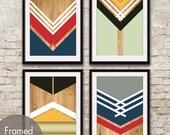 Racing Oars Geometric Patterns (Geo-Metro Series) - Set of 4 - Art Prints (Featured in Assorted Colors) Geometric Pattern Art Prints