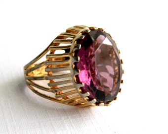Vintage 18K HGE Gold Amethyst Ring - Oval Faceted Glass - 6 Carats - Signed ESPO - Size 7.5