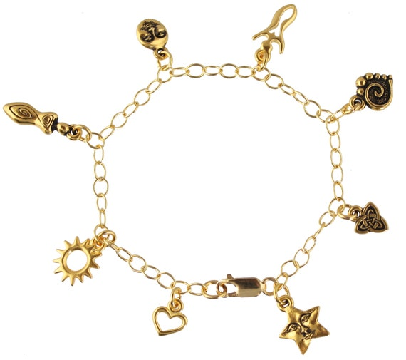 Goddess Gold charm bracelet- moon, star, heart, female forms, Celtic knot, star- 14k gold filled chain -Myth and religion -Free Shipping USA