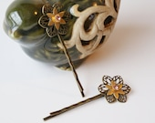 Vintage Antique Gold Filigree Flower Bobby Pins with Rose Rhinestone Inset