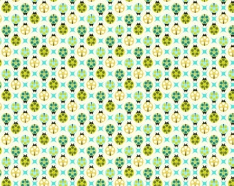 Birds and the Bees Tula Pink Ladybugs apple green Free Spirit fabrics FQ or more