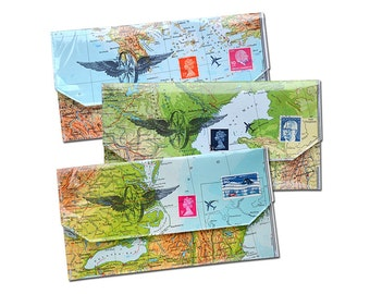 travel wallet for passport tickets map Design handmade from vintage maps by renna deluxe