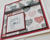 Valentine Greeting Cards:  Handmade Blank Note Card - Love You