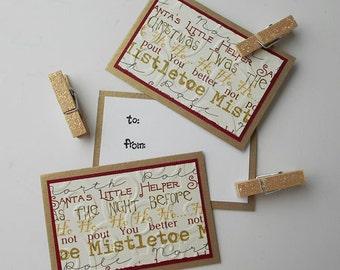 Christmas Clothespin Gift Tags:  Handmade 3 Pack Mini Set - Mistletoe