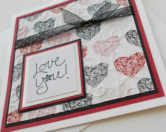 Valentine Greeting Card:  Handmade Blank Note Card - Love You