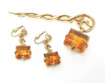 Signed Trifari  Pin & Earring Set Golden Citrine Pendant from Staff - Alfred Philippe Demi Parure