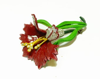 1930's Red Flower Brooch - Enamel and Rhinestone Vintage Floral Pin - Vintage Jewelery