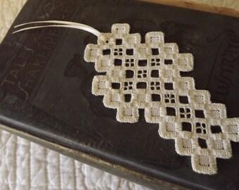 Hardanger Cross Bookmark - Cream on Cream with Cutout Detail