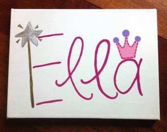 Personalized Princess name canvas painting, pink, purple with wand and crown