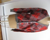 RESERVED for LB Argyle Sweater / Red and Gray Wool and Mohair Cardigan Diamond Pattern / Sock Hop Wear / Collegiate / Preppy / Grunge