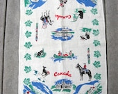 Canada Souvenir Towel Linen Towel with the Sights of Canada Blue, Green and Red / Pure Linen / Made in Ireland Mounties Canoes Bears Banff