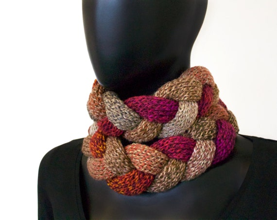 Mulled Spice Braided Cowl - Chunky Infinity Scarf in Earthy Red and Rich Brown Tones - Warm Winter Cowl