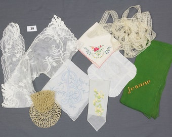 Victorian lace collar Tatted tea cup and saucer, 3 Hankies, Sachet pillow, Green scarf monogramed Jeanne Lace yardage Destash Cutter