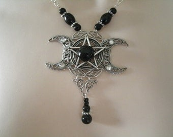 Triple Moon Goddess Pentacle Necklace, wiccan jewelry pagan jewerlry wicca jewelry goddess jewelry witch witchcraft magic pentagram