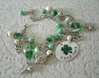 Good Luck Pentacle Charm Bracelet, wiccan jewelry pagan jewelry wicca jewelry celtic jewelry witch witchcraft goddess pentagram magic druid