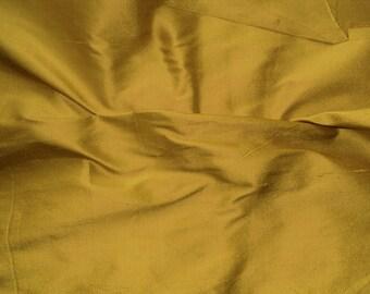 silk dupioni fabric - antique gold 100% pure silk - 1 yard sld171