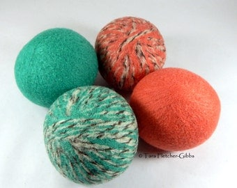 Wool Dryer Balls - Peach & Teal Tweed - Set of 4 Eco Friendly - Can Be Scented or Unscented