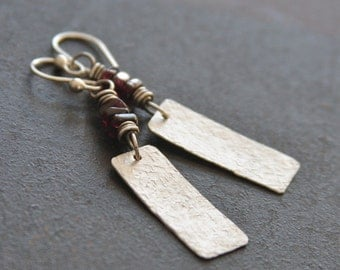 Hammered Sterling Silver Earrings with Garnet , Textured Sterling Earrings, Sterling Silver Garnet Earrings