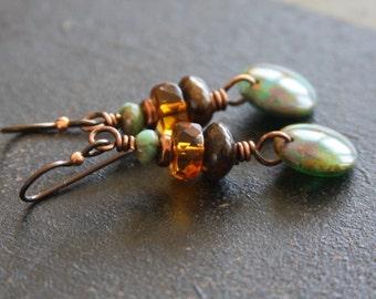 Stacked Czech Glass Dangle Earrings, Rustic Bead Earrings, Earthy Earrings