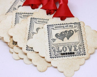 Valentine's Day Tags (Triple Layered) - Sending All My Love Gift Tags - Handmade Vintage Inspired Valentine's Day Tags - Set of 8