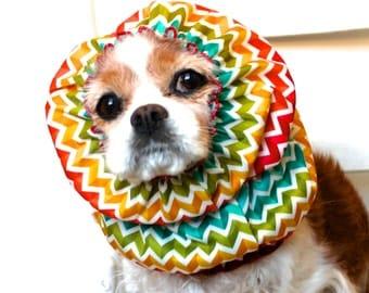 Rainbow Chevron Waterproof Dog Snood - Stay-Put 3 Rows Elastic Thread - Rain Hat - Cavalier King Charles or Cocker Snood
