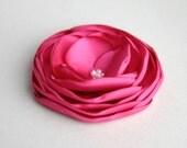 Hot Pink Flower Hair Clip, Fuschia Flower, Wedding Accessory, Hot Pink Hair Piece, Pink Bridal Fascniator, Bridesmaid Hair Clip, Hair Pins