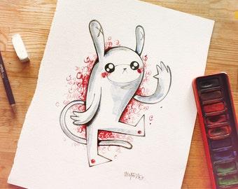 "Original pencil and watercolour drawing ""Orejas Equis"""