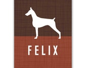 Personalized Doberman Pinscher Dog Print, Silhouette Art, Doggie Decor