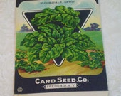 Card Seed Company, Spinach seed packet, 1920's unused, Bloomsdale Savoy