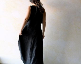 Long dress, Black dress, Linen dress, tunic dress, Medieval dress, LARP, maxi dress, goth dress, pinafore dress, boho floor length dress