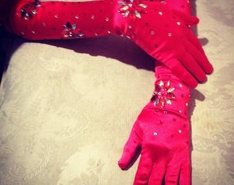 Custom gloves Rhinestoned burlesque or wedding gloves