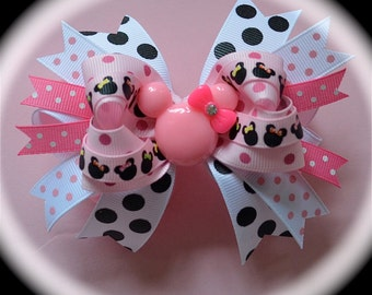 Custom Boutique Disney Vacation m2m toddler girls MICKEY MINNIE MOUSE Pink Black Bling Resin Ribbon Hair Bow Clip …