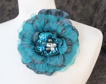 Cute  organza flower beaded  with rhinestones 1  piece listing