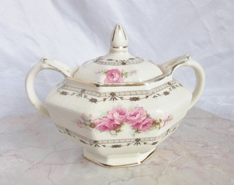 Pink floral sugar bowl ~ Coronation Rose ~ 1930s Art Deco Mid century ~ Thomas Hughes Unicorn pottery ~ Staffordshire