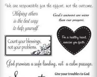 15 Faith Greetings Clear Stamps Scrapbooking Crafts Cards Texturing Polymer Clay Pieces SBC