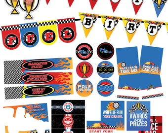 Indy Race Car Birthday Printable Party - INSTANT DOWNLOAD --SALE!!!