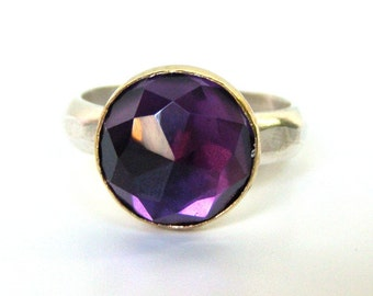 Amethyst ring, silver sterling ring, Birthsone ring,Band Statement ring ,Cocktail ring, gift for her, Solitaire ring