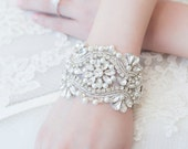 SALE!!! Bridal Bracelet - Wedding Czech Crystal and Pearl Applique Wedding Bracelet