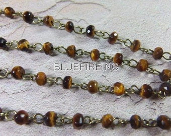 3 feet 6mm Rondell Faceted  Yellow Tiger EYE beads  with Antique Bronze Wire Chain // Beaded Gemstone Jewelry Chain // Unfinished Chain