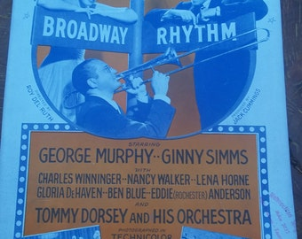 vintage sheet music, AMOR, Broadway Rhythm, Tommy Dorsey Orchestra, 1941, MGM, George Murphy, Ginny Simms vintage paper supplies