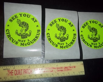 "Circus McGurkus, May 3 - see you at the circus - STICKERS - 2"" - acid free stickers- various sizes - Scrapbook stickers - Memories"