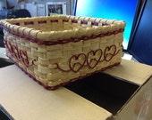 Desk Basket with Hearts  Custom Valentine Basket for David